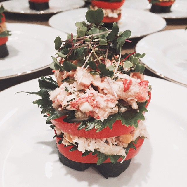 Lobster/crab tower with vine ripened tomatoes, crab salad, cucumber avocado…