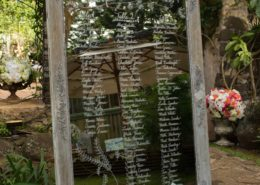 Wedding table seating chart on mirror