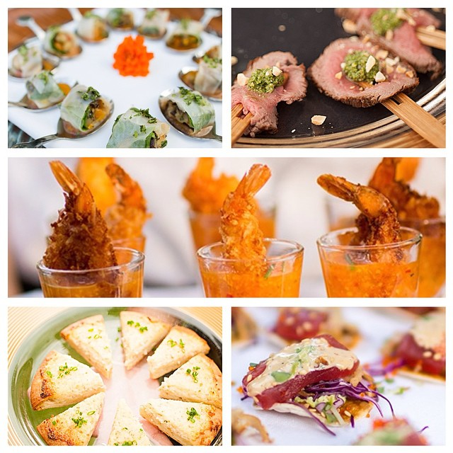 Passed Pupus from Celebrations! Grilled Vegetable Summer Rolls, Seared Filet with Arugula Pistachio Pesto, Coconut Prawn Shooters with Horseradish Marmalade, Bev's Crab Boboli and a personal favorite... Mini Sashimi Pizzas! #pupus #appetizers #celebrationsmaui #mauicatering #celebrationscatering #mauiluxurywedding #bevgannon #coconutshrimp #sushi #crabpizza